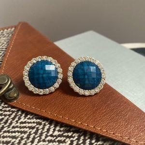 Gold large blue round rhinestone halo earrings